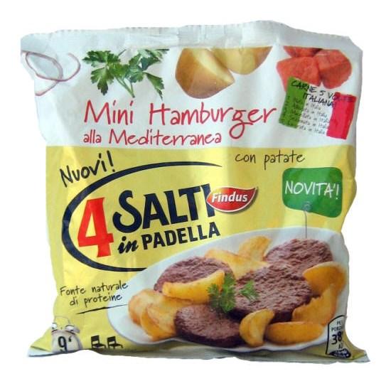 8 mini hamburger alla mediterranea findus 4 salti in for Cucinare 4 salti in padella