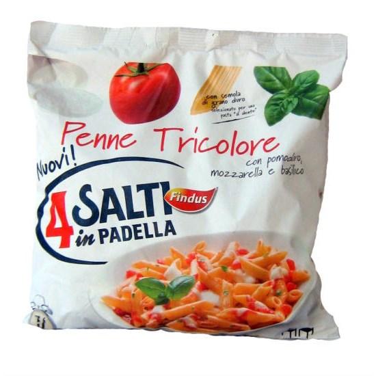 Penne tricolore surgelate findus 4 salti in padella 550 g for Cucinare 4 salti in padella