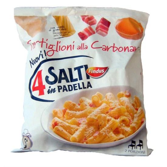 Tortiglioni alla carbonara surgelati findus 4 salti 18570 for Cucinare 4 salti in padella
